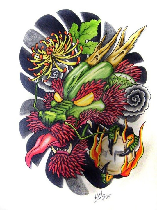 Traditional asian dragon head in color tattoo design by Edilsonr74