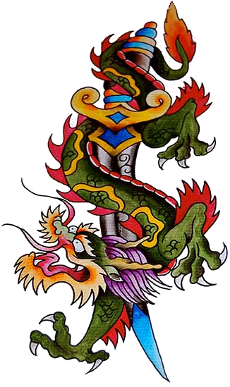Traditional asian dragon killed with a huge dagger tattoo design