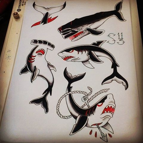 Traditional black-and-red shark tattoo designs