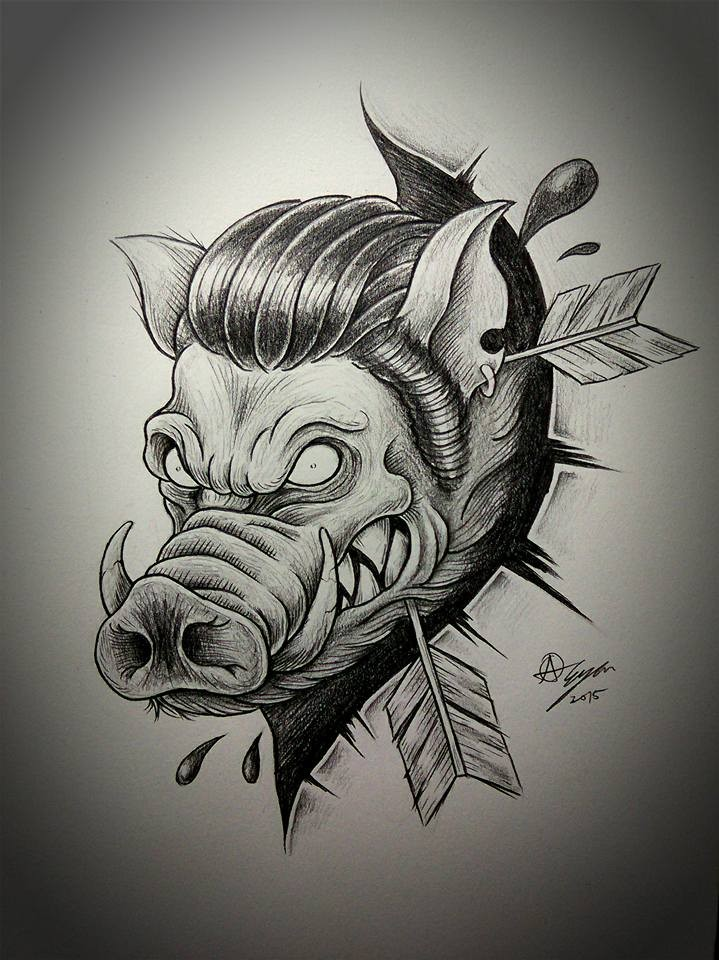 Traditional black-and-white blind wild pig killed with arrows tattoo design