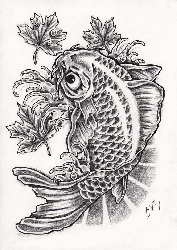 Traditional black-and-white fish and small maple leaves tattoo design