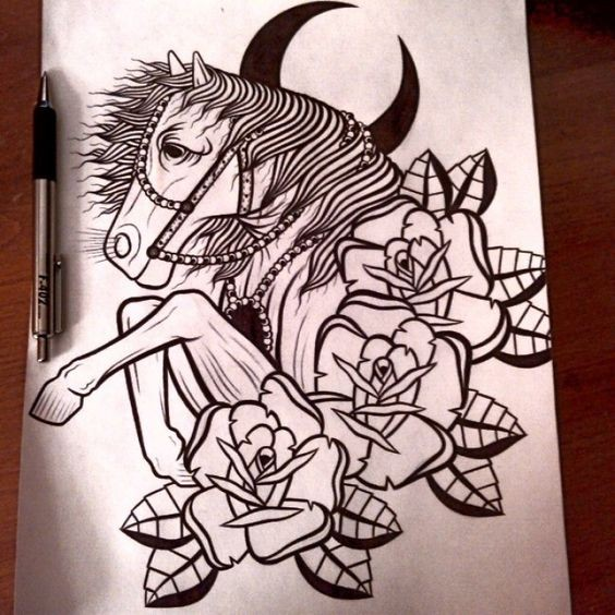 Traditional black-and-white horse with half-moon and roses tattoo design