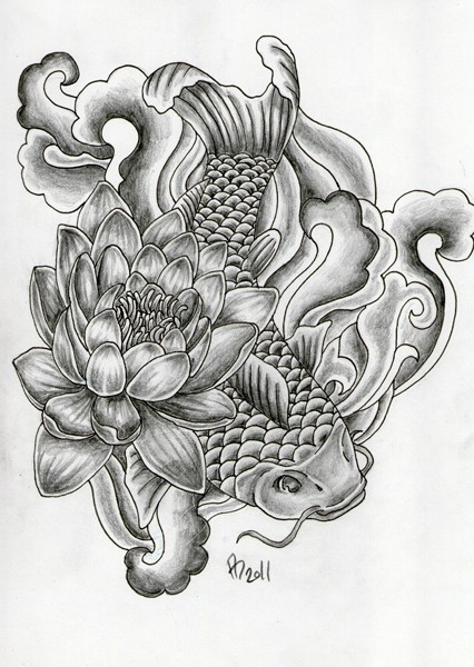 Traditional black-and-white koi fish and lotus flower tattoo design by Mai Coh
