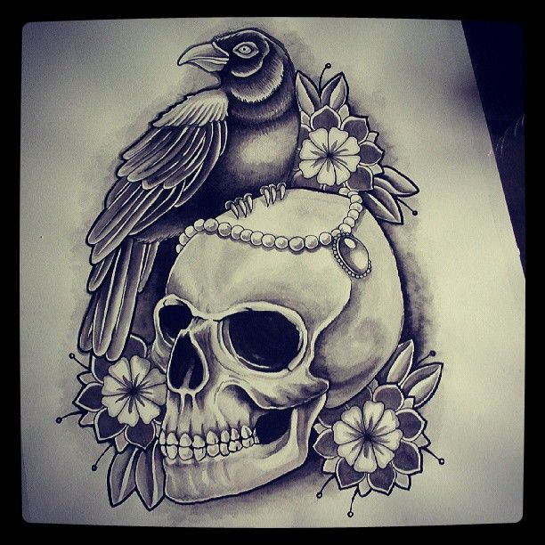 Traditional black-and-white raven with skull and flowers tattoo design