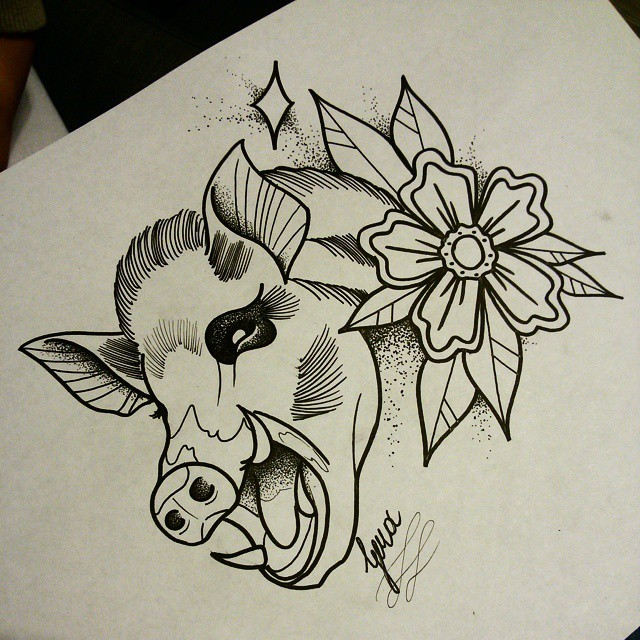 Traditional black-and-white screaming pig and rose tattoo design