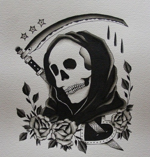 Traditional black-ink death with a scythe and a lot of roses tattoo design