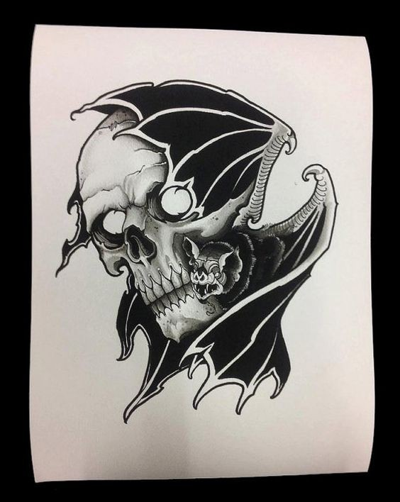 Traditional black-ink flying bat and human skull tattoo design