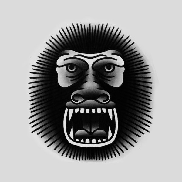 Traditional black-ink gorilla face tattoo design by Genotas