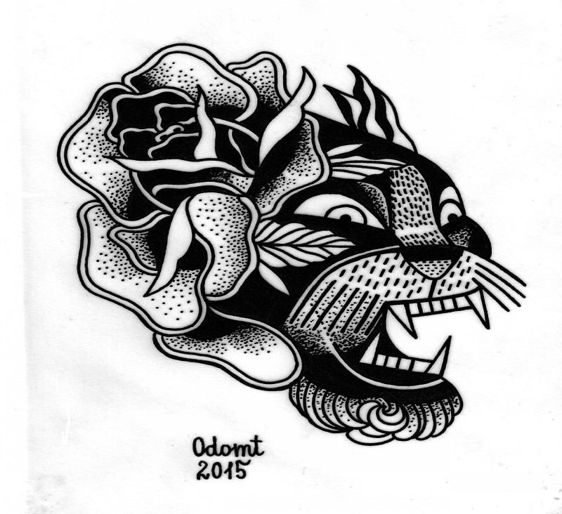 traditional black ink panther and rose in old school style tattoo design. Black Bedroom Furniture Sets. Home Design Ideas