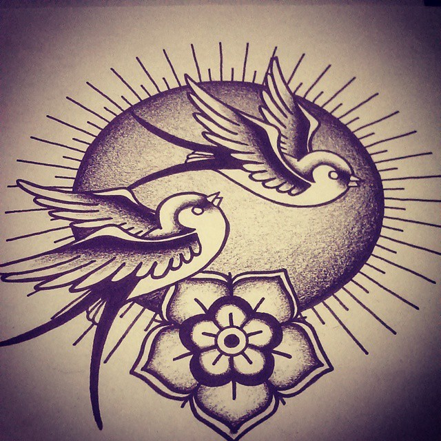 Traditional black-ink sparrow couple on shining sun background tattoo design