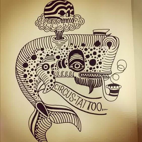 Traditional black-ink whale smoking a tobacco pipe tattoo design