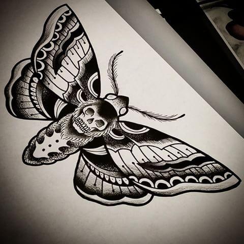 Traditional black dead head moth tattoo design