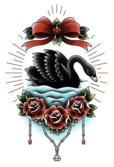 Traditional black swan with red laced roses and bow tattoo for Black swan tattoo