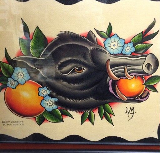 Traditional black wild pig head with mandarins fruit and blue flowers tattoo design