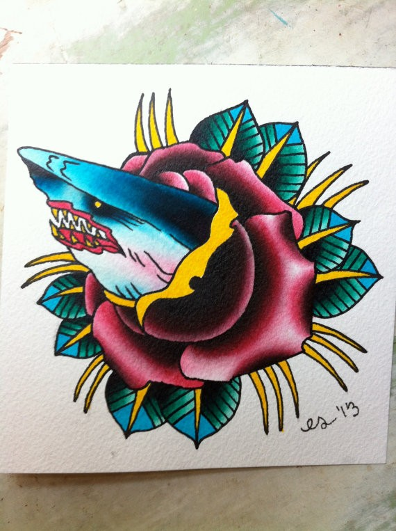 traditional bloody mouth shark looking out of rose bud tattoo design. Black Bedroom Furniture Sets. Home Design Ideas