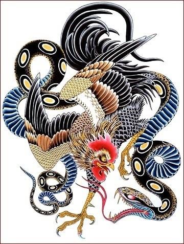 traditional blue belly snake and rooster tattoo design. Black Bedroom Furniture Sets. Home Design Ideas