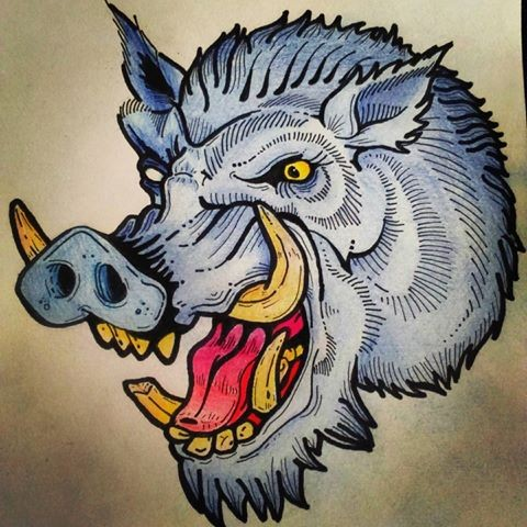 Traditional blue-color roaring wild pig head tattoo design