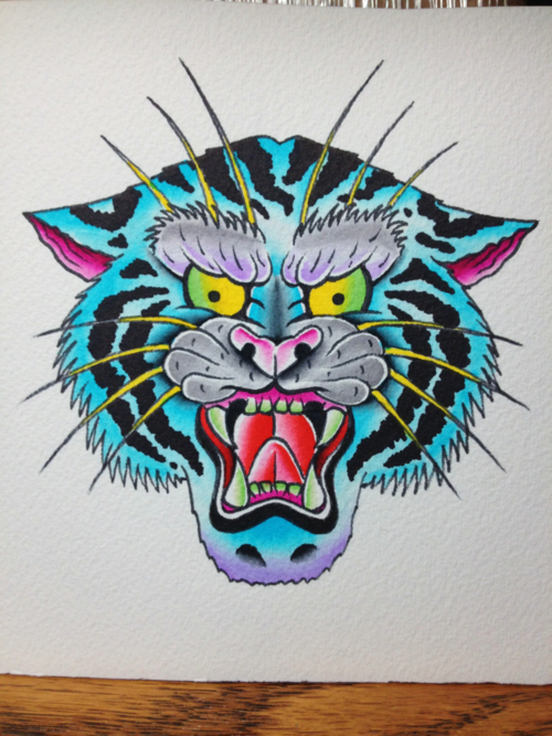 Traditional Blue Striped Tiger Head Tattoo Design Tattooimages Biz