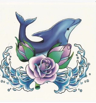 Traditional blue dolphin in water and purple flower tattoo design