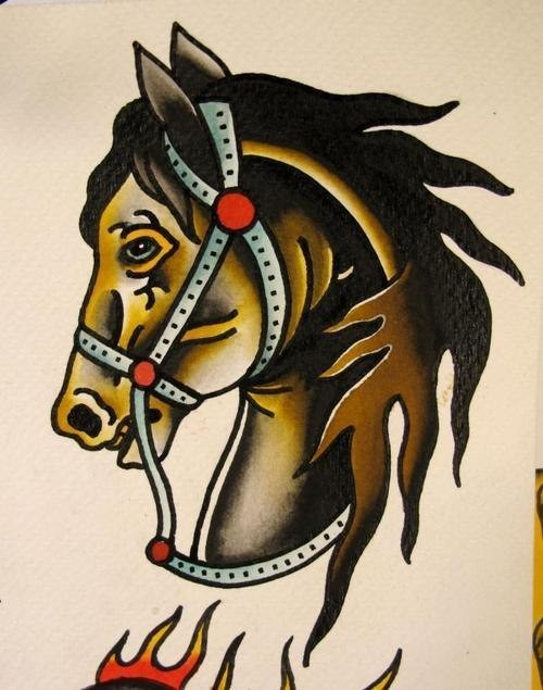 Traditional brown horse head in reins tattoo design