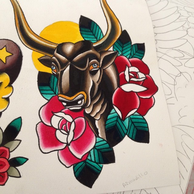 Traditional bull with hige roses on sun background tattoo design