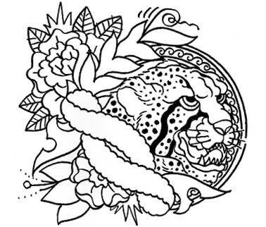 Traditional cheetah head with unquoted banner and flowers tattoo design