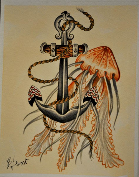 Traditional colored jellyfish and its huge iron anchor tattoo design