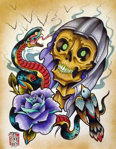 Traditional colored new school death with a snake and a rose bud tattoo design