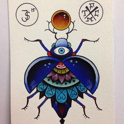 Traditional colored old school bug with mandala print tattoo design