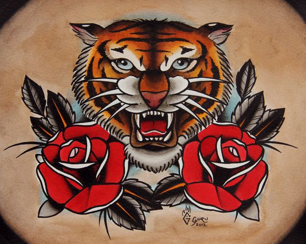 Traditional colored tiger and rose buds tattoo design