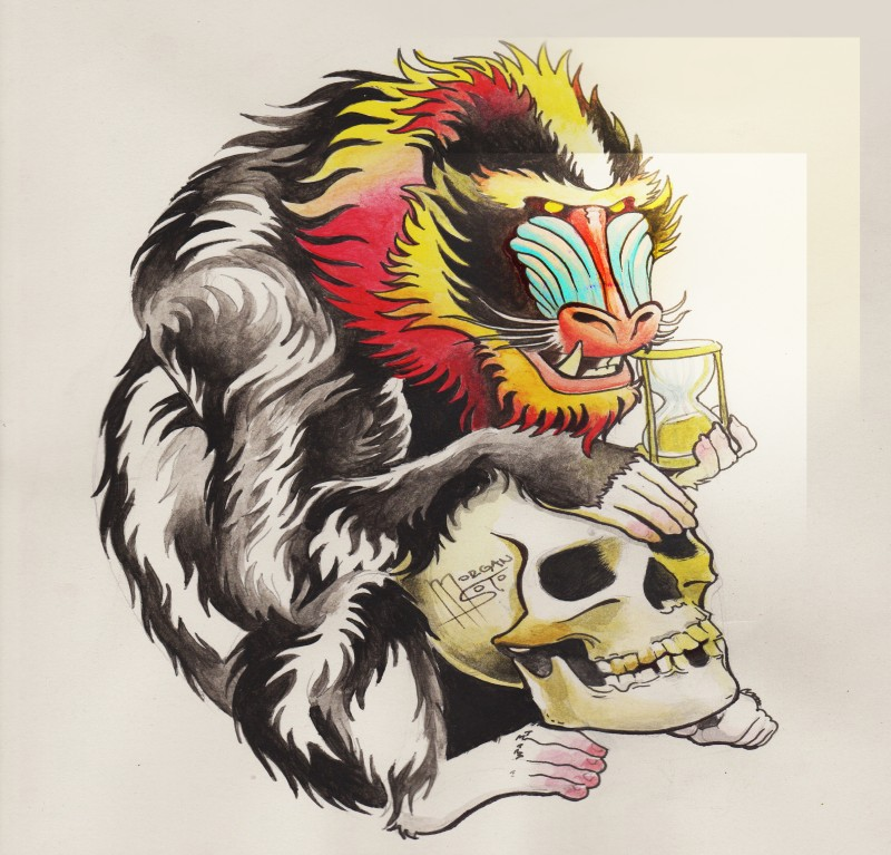 Traditional colorful baboon with small hourglass and skull tattoo design