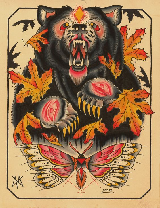 Traditional colorful bear with moth and maple leaves tattoo design