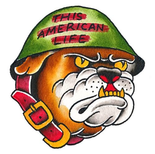 Traditional colorful bulldog in helmet tattoo design