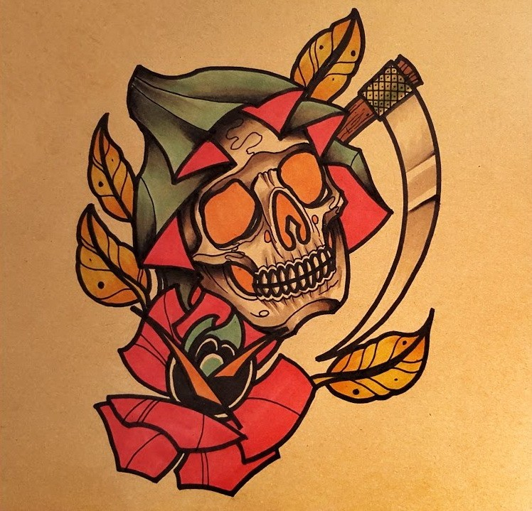 Traditional colorful death head with a scythe blade and a flower tattoo design