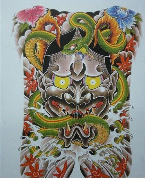Traditional colorful demon face with a huge snake in teeth tattoo design
