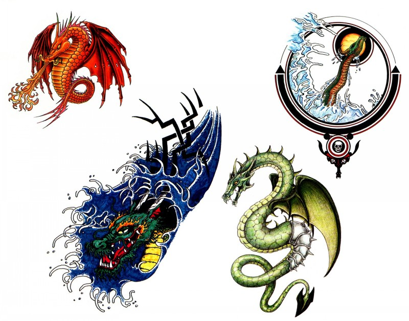 Traditional colorful dragon tattoo designs