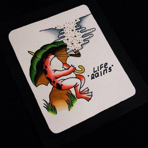 Traditional colorful frog smoking a drem sigarette under umblerra tattoo design