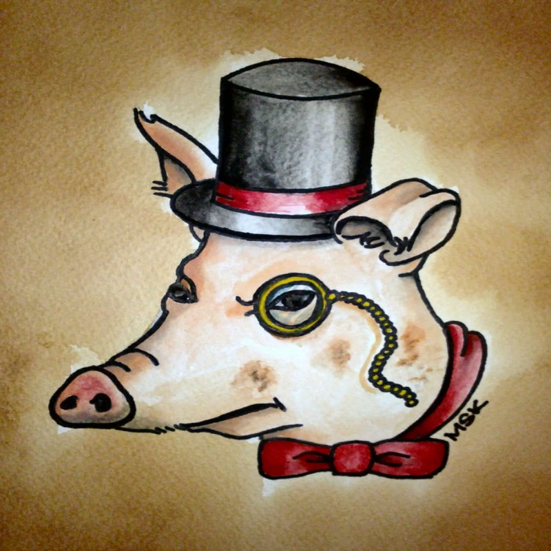 Traditional colorful gentleman pig with tie-bow and monocle tattoo design
