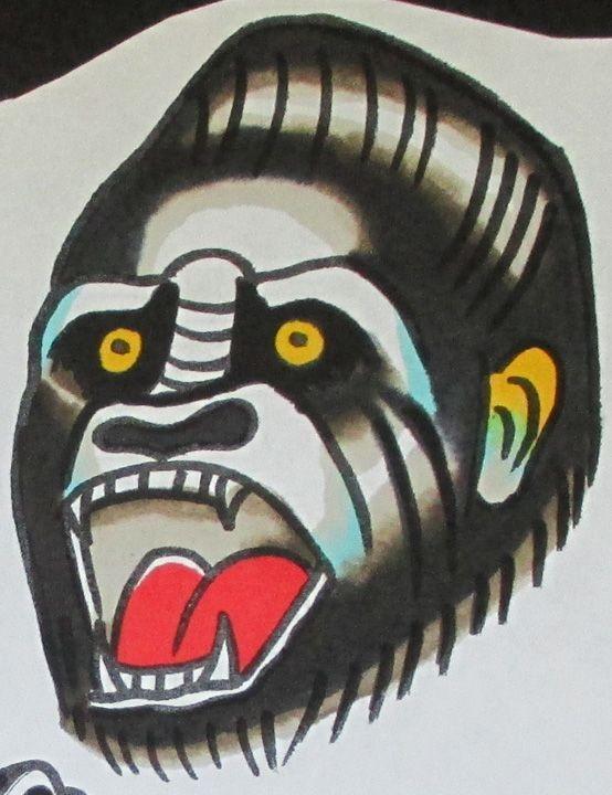 Traditional colorful gnarling gorilla head tattoo design