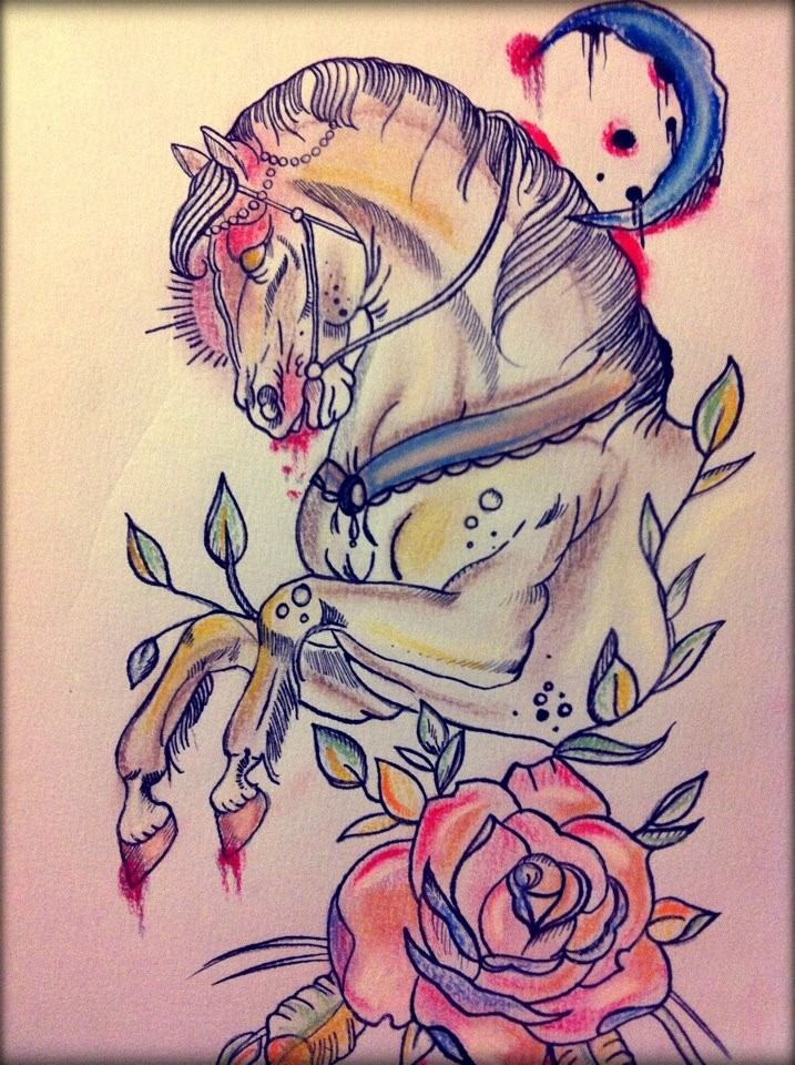 Traditional colorful horse with half moon and rose flower for Traditional moon tattoo