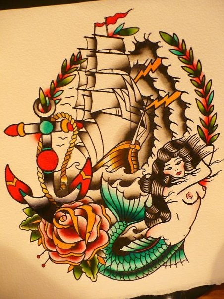 Traditional colorful mermaid with big ship and anchor tattoo design