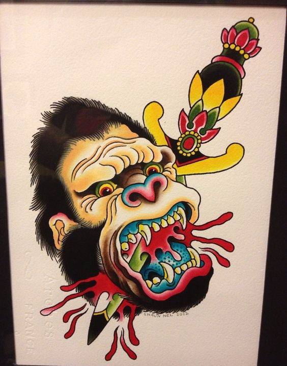 Traditional colorful monkey head pierced with dagger tattoo design