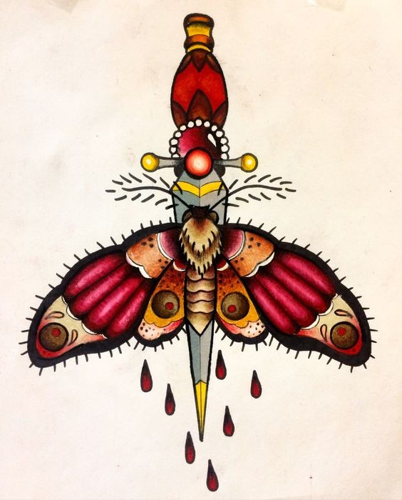 Traditional colorful moth killed with dagger tattoo design
