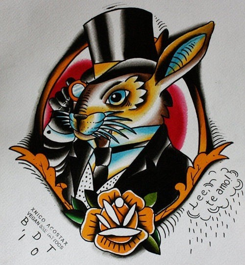 Traditional colorful mr rabbit in hat and suit tattoo design