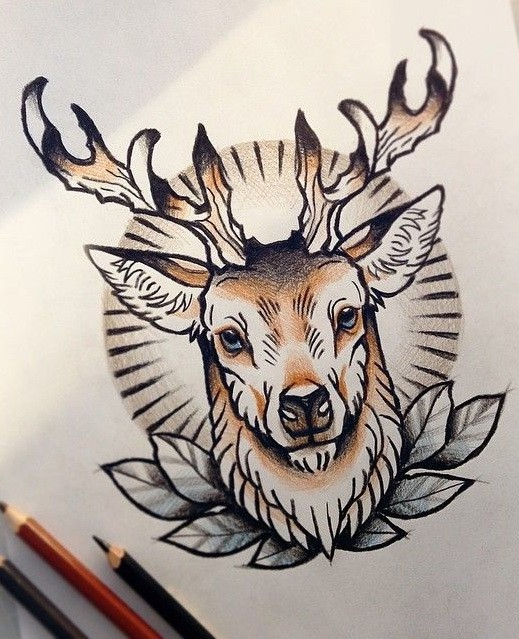 Traditional colorful new school deer tattoo design