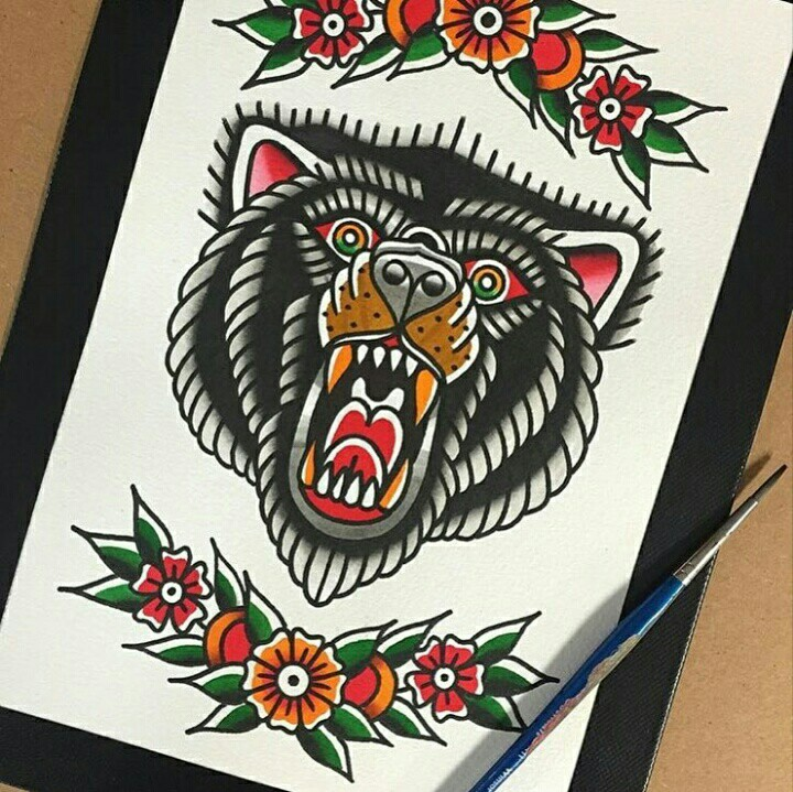 Traditional colorful old school bear head with floral frame tattoo design