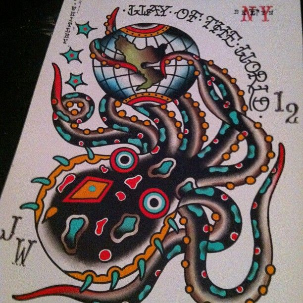 Traditional Colorful Old School Octopus Tattoo Design