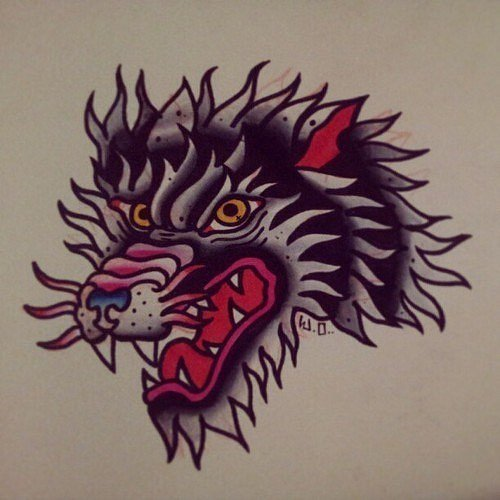 Traditional colorful old school wolf head tattoo design