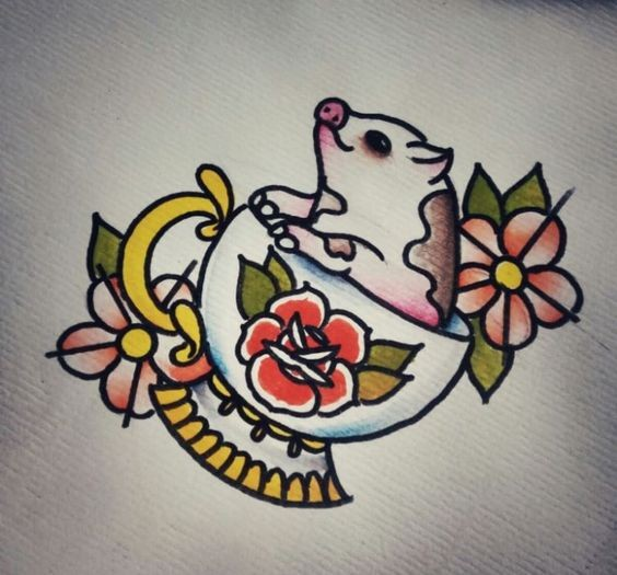 Traditional colorful pig baby sitting in flowered cup tattoo design