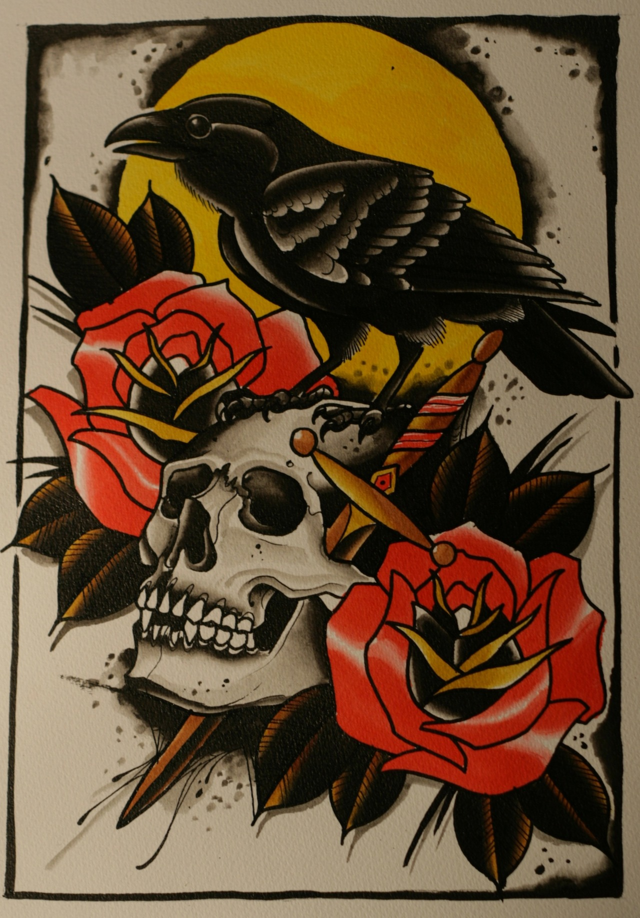 Traditional colorful raven with skull and roses on yellow for Traditional tattoo flash